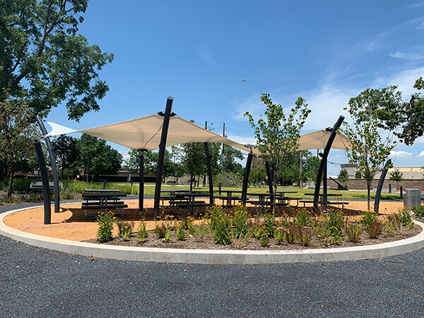 Picnic tables in the Discovery Center park