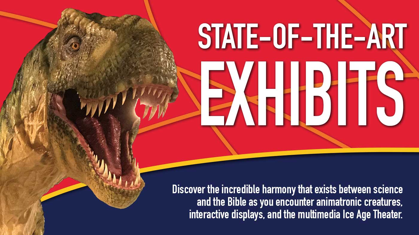 State-of-the-Art Exhibits featuring a photo of a Tyrannosaurus Rex head.