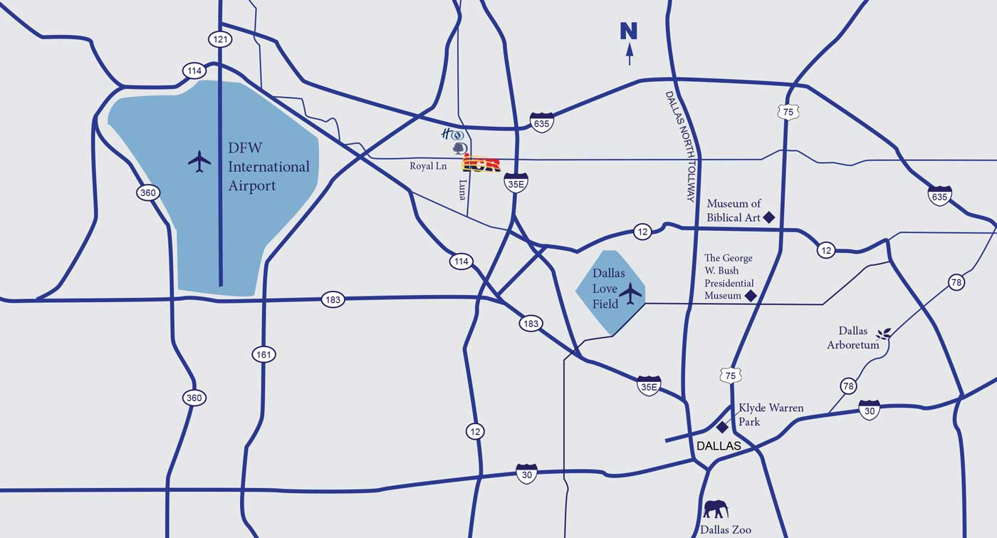 Overview map of the Dallas Area surrounding the ICR Discovery Center for Science & Earth History